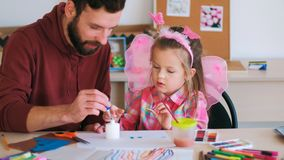 Father help children art handmade Royalty Free Stock Images