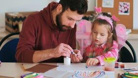 Father help children art handmade Royalty Free Stock Photo