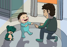 Father helping baby on his first steps. Illustration of a young father helping baby on his first steps Royalty Free Stock Images