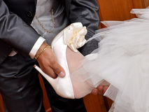 Father helps the bride. Royalty Free Stock Images