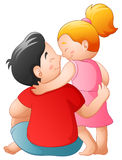 Father and her daughter hugging together vector illustration