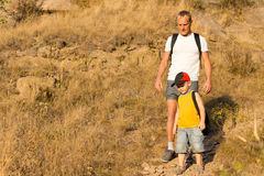 Father hiking with his small son Stock Photography