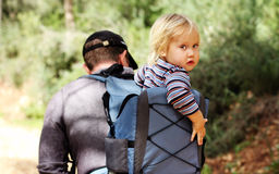 Father hiking with kid Stock Photography