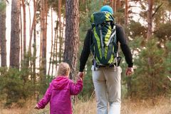 Father hiking with kid on backpack stock photography