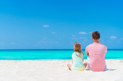 Father and his adorable little daughter at tropical beach Royalty Free Stock Photography