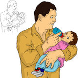 Father with his baby stock illustration