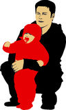 Father and his child. Vector illustration of Father holdin his child Stock Photography