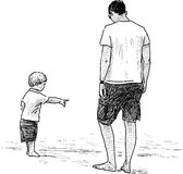 Father and his child. Vector drawing of a man with a his child on a sea coast Royalty Free Stock Photo