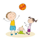Father and his children playing with ball - original hand drawn. Happy family playing with ball Royalty Free Stock Images