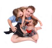 Father and his cute children royalty free stock photo