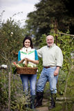 A father and his daughter on an allotment, holding a basket full of vegetables Royalty Free Stock Image