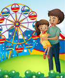 A father with his daughter at the carnival. Illustration of a father with his daughter at the carnival Royalty Free Stock Photos
