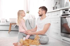 Father and his daughter with cat. At home Royalty Free Stock Image