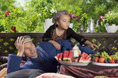 Father with his daughter have breakfast Stock Images
