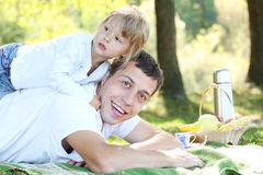 Father with his daughter on nature Stock Photos