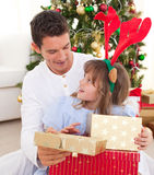 Father and his daughter opening Christmas present. Portrait of a smiling father and his daughter opening Christmas presents in the living-room stock photo