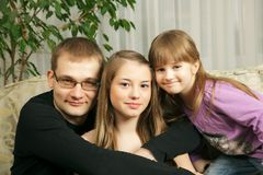 Father and his daughters Stock Photography