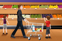 Father and his kids doing grocery shopping. A vector illustration of father and his kids doing grocery shopping together royalty free illustration