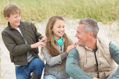 Father and his kids enjoying a day out Stock Photos