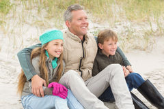 Father and his kids enjoying a day out Stock Image