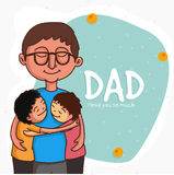 Father with his kids for Happy Fathers Day celebration. Smiling father with his cute kids on stylish background for Happy Fathers Day celebration Stock Images