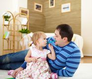 Father with his little daughter at home Royalty Free Stock Photo