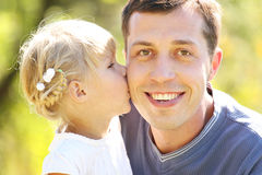 Father with his little daughter on nature Stock Images