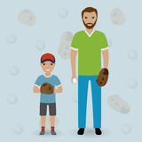 Father and his little son going to play baseball. Dad and kid throw the ball. Happy family concept. Flat vector illustration Stock Photo