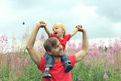 Father and his little son have fun on blooming fireweed field. Cute toddler boy sits on his father`s shoulders and looks at the b. Utterfly. Family look clothing royalty free stock photos