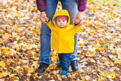Father and his little son having fun in autumn park Royalty Free Stock Photos