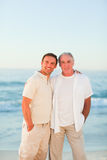 Father with his son at the beach. Nice father with his son at the beach stock photography