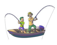 Father with his son are fishing with boat. Royalty Free Stock Photo