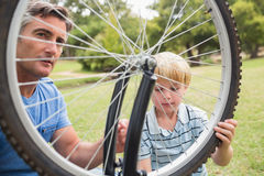 Father and his son fixing a bike Stock Photography