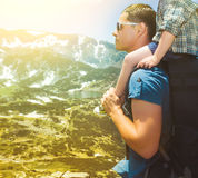 Father and his son hiking in mountains, Bulgaria Royalty Free Stock Photography