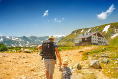 Father and his son hiking in mountains, Bulgaria Royalty Free Stock Photos