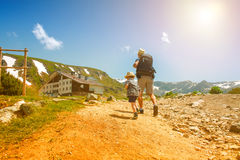 Father and his son hiking in mountains, Bulgaria Stock Image