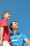 Father and his son outdoors Royalty Free Stock Photo