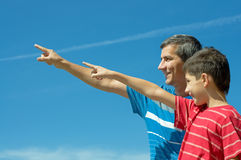 Father and his son outdoors Royalty Free Stock Images