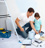 Father and his son painting Stock Photography