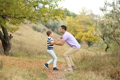 Father and his son playing. In countrye royalty free stock images