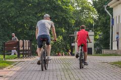 Father and his son riding bicycles in the park, back side view.
