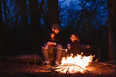 The father and his son sitting on the logs in the forest in front of a fire and roasting marshmallows on the sprigs royalty free stock photo