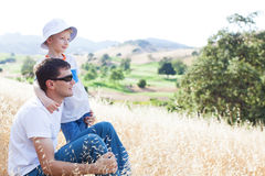 Father and his son together Royalty Free Stock Image