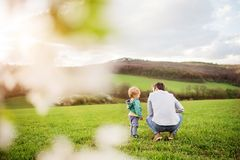 A father with his toddler son outside in spring nature. A father with his toddler son outside in green sunny spring nature. Rear view Royalty Free Stock Photos