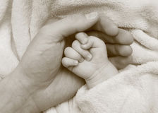 Father hold baby hand in the palm. Black-and-white photo Stock Photo