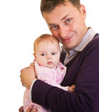 Father holding baby girl stock photo