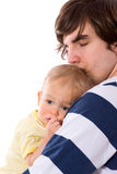 Father holding child. Sad father holding child isolated stock photos