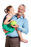 Father holding child. Isolated on white background Royalty Free Stock Images