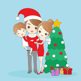 Father holding child with mother. Christmas father holding child with mother amd smile to you Royalty Free Stock Images
