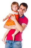 A father is holding his daughter Stock Photography